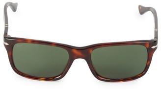 Persol 55MM Havana Rectangular Sunglasses
