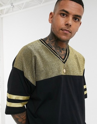 Asos DESIGN festival oversized t-shirt with half sleeve and v neck in metallic gold