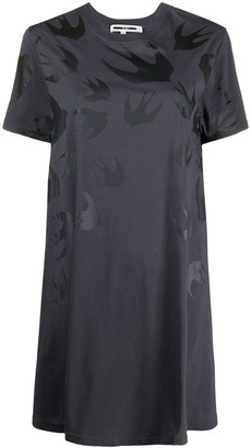 McQ Swallow flared swallow-print T-shirt dress