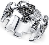 Unwritten Pavé Elephant Ring in Silver-Plated Brass