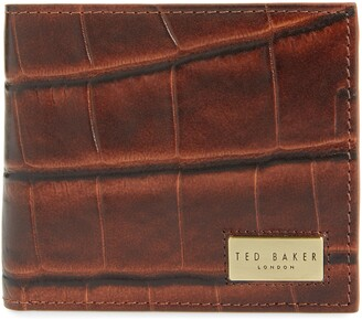 Ted Baker Pinpong Croc Embossed Bifold Leather Wallet