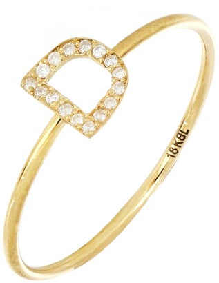 Bony Levy 18K Yellow Gold Pave Diamond Initial Ring - Multiple Letters Available