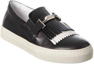 Tod's Double T Fringe Leather Slip-On Sneaker