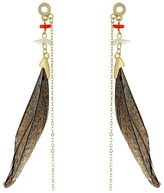 French Connection Feather Linear Statement Earrings