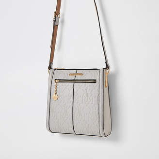 River Island Grey RI embossed cross body messenger bag