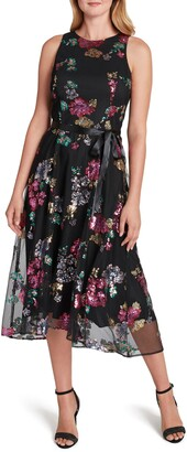 Tahari Sequin Flower High/Low Midi Dress