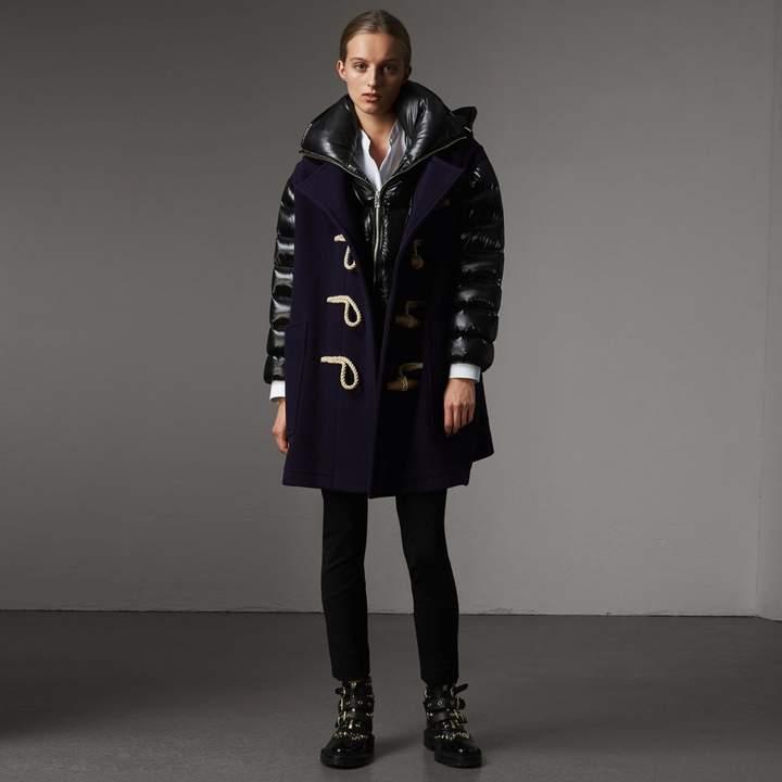 Burberry Detachable Hood Down-filled Sleeve Wool Blend Duffle Coat