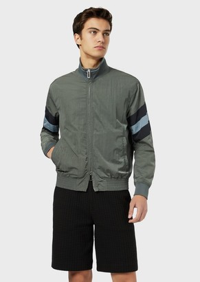 Emporio Armani Nylon Bomber Jacket With Contrasting Bands