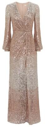 Badgley Mischka Draped Sequin Gown