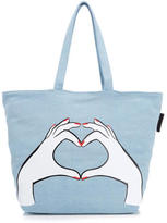 Lulu Guinness Women's Luisa Heart Hands Denim Tote Bag Denim