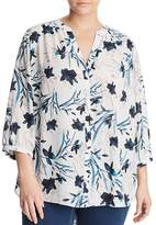 NYDJ Plus Printed Pintuck-Back Blouse