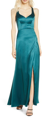 Sequin Hearts Cage Back Satin Gown