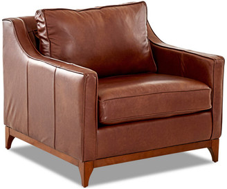 Avenue 405 Ansley Leather Wood Base Accent Chair, Chestnut