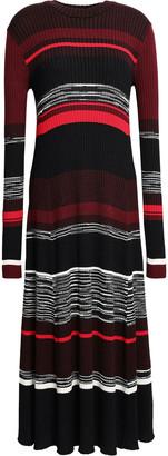 Proenza Schouler Striped Ribbed Wool, Silk And Cashmere-blend Midi Dress