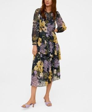 MANGO Flowy Flower Printed Dress