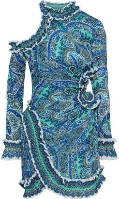 Zimmermann Moncur Cutout Printed Plisse-organza Mini Dress