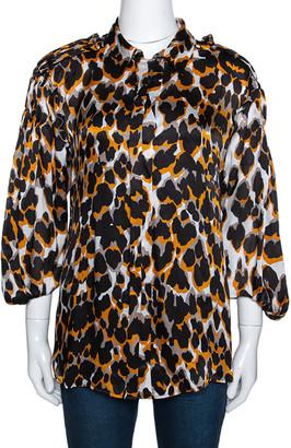 Roberto Cavalli Tricolor Silk Animal Print Ruched Sleeve Blouse M