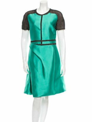 J. Mendel Silk Dress Green