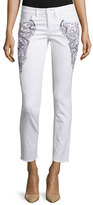 Escada Embroidered Skinny Cropped Jeans, White