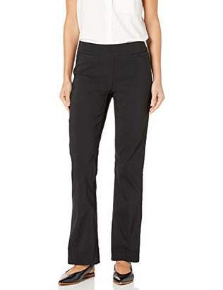 SLIM-SATION Women's Elastic Waist Boot Cut Solid Pant with Front Faux Pockets