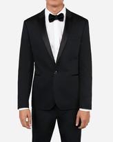Express Extra Slim Black Satin Peak Lapel Cotton Tuxedo Jacket