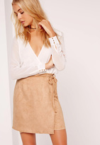 Missguided Faux Suede Tan Wrap Around Mini Skirt