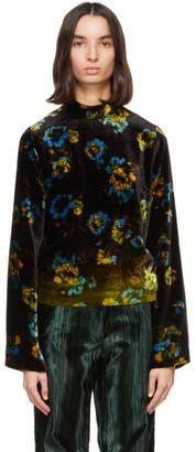Dries Van Noten Brown Velvet Floral Blouse