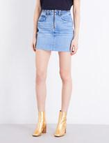 Sandro Frayed high-rise denim skirt