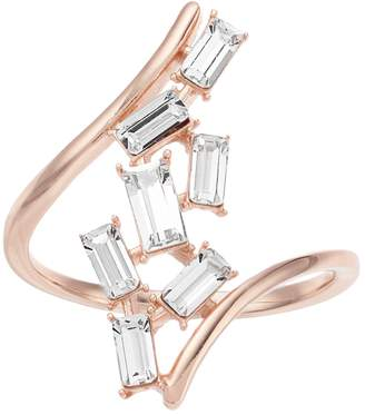 Brilliance+ Brilliance Rose Gold Tone Clear Swarovski Crystal Open Baguette Ring