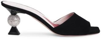 Roger Vivier Marlene Embellished-Heel Suede Mule Sandals
