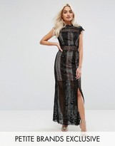 True Decadence Petite Allover Lace Crochet Maxi Dress With Thigh Split