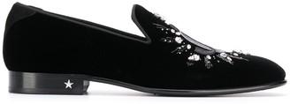 Jimmy Choo Thame velvet crystal-embellished slippers