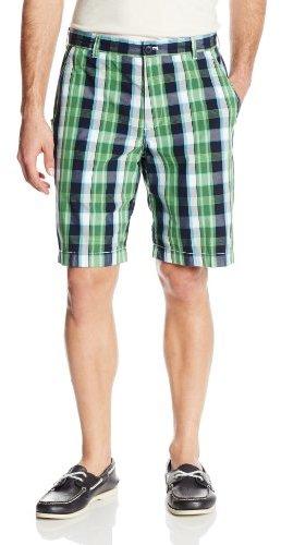 Izod Men's Poplin Wide Plaid Flat Front Short