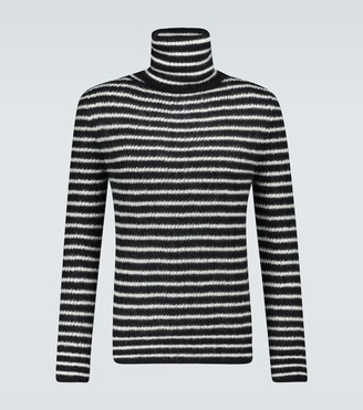 Saint Laurent Mariniere mohair-blend turtleneck