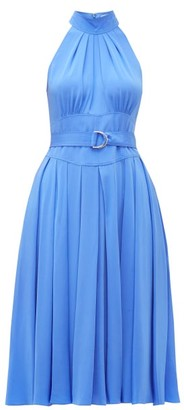 Diane von Furstenberg Nicola High-neck Belted Silk Dress - Blue
