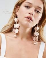 Asos Metal Petal Drop Earrings