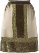 Alberta Ferretti contrast lace panel skirt