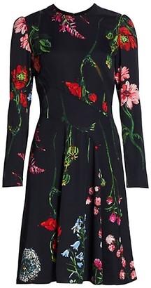 Lela Rose Long-Sleeve Floral Fit & Flare Crepe Dress