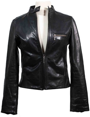 Chevignon Black Leather Leather Jacket for Women