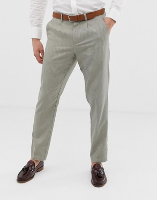 Selected smart tapered trouser in grid check-Beige