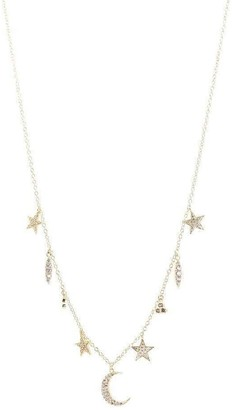CZ by Kenneth Jay Lane Celestial Charm Necklace in Silver