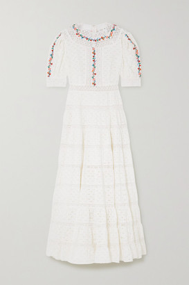 Rixo Skylar Tiered Lace-paneled Embroidered Broderie Anglaise Cotton Maxi Dress - White