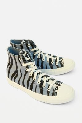 Converse Chuck Taylor All Star Animal Print High-Top Trainers - Blue UK 3 at Urban Outfitters
