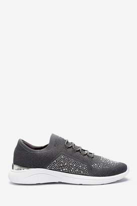Dune London Womens Grey Easy Lace-Up Fabric Embellished Trainers - Grey