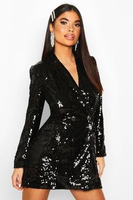 boohoo Petite Sequin Blazer Dress