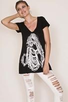 Lauren Moshi Camera Girl Short Sleeve Swing V-Neck in Black