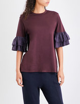 Clu Ruffled-sleeve cotton-jersey T-shirt