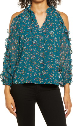 1 STATE Ruffle Floral Cold Shoulder Top