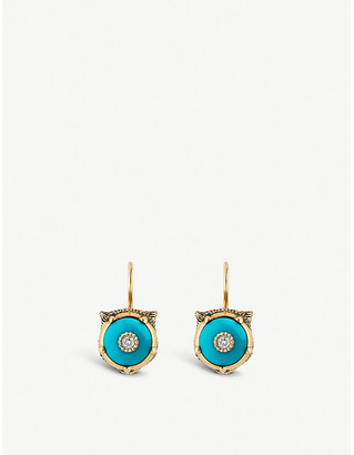 Gucci Le Marché des Merveilles 18ct yellow-gold, turquoise and diamond earrings