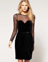 Oasis Velvet Dress with Sheer Top